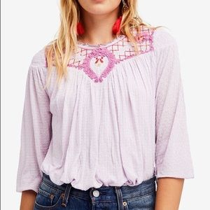 NWT free people begonia embroidered top